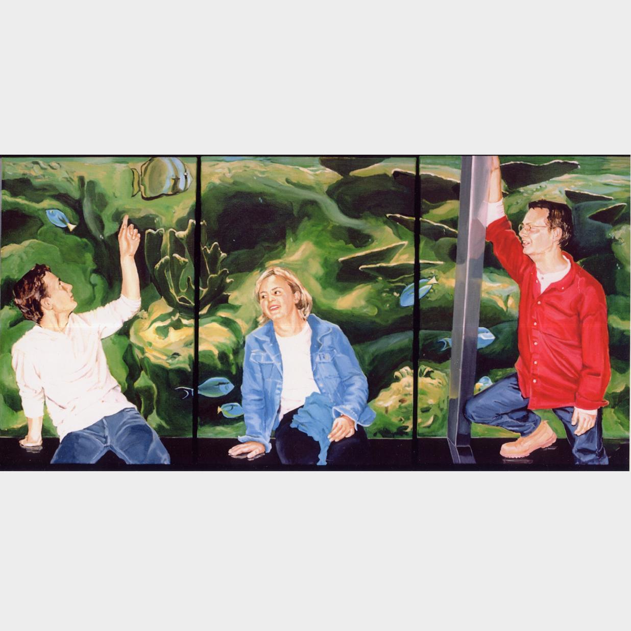 familiedrieluik in Artis, 3 olieverfschilderijen van 50 x 100 cm, 1998