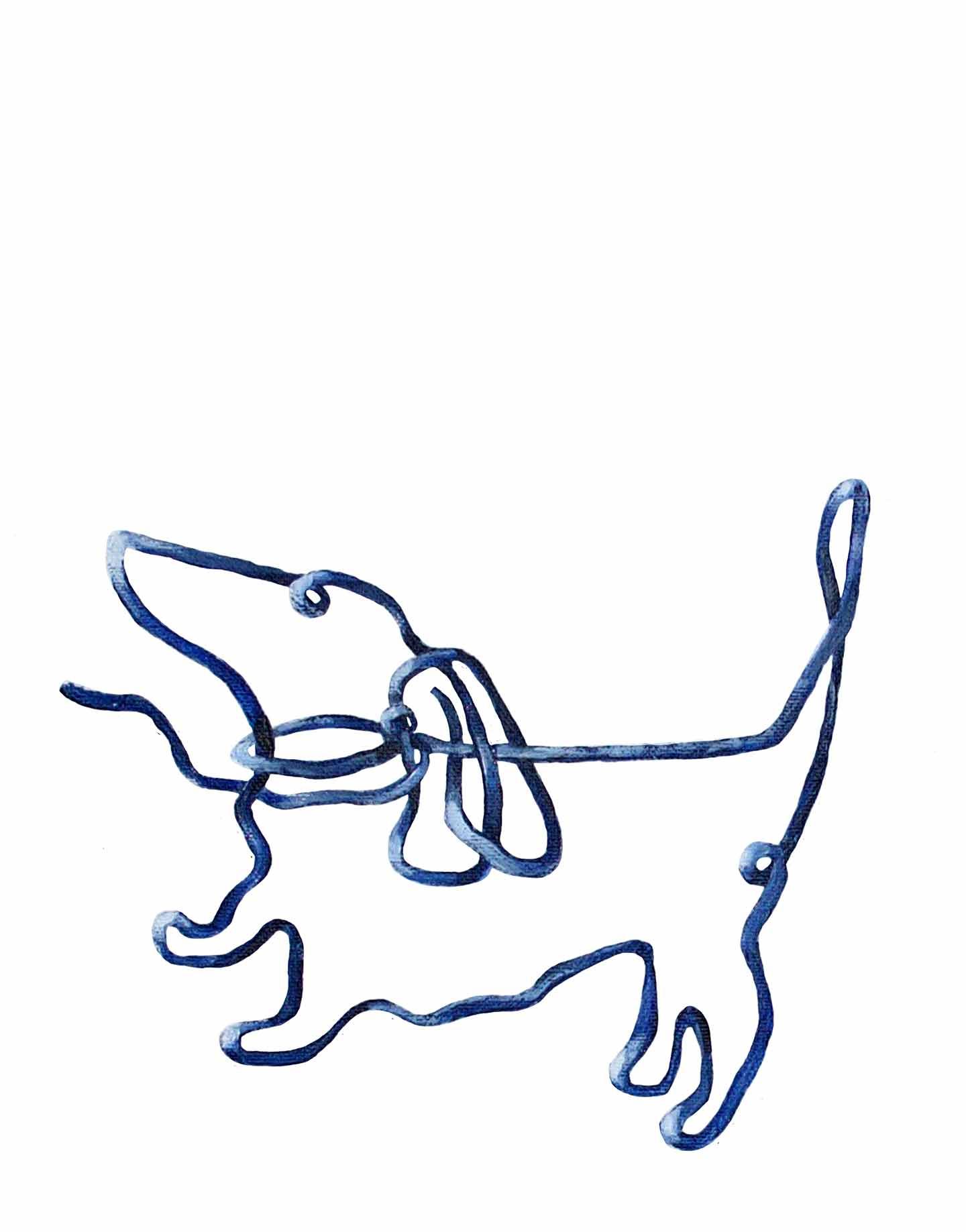 delfsblauwe teckel op doek, 20 x 30 cm