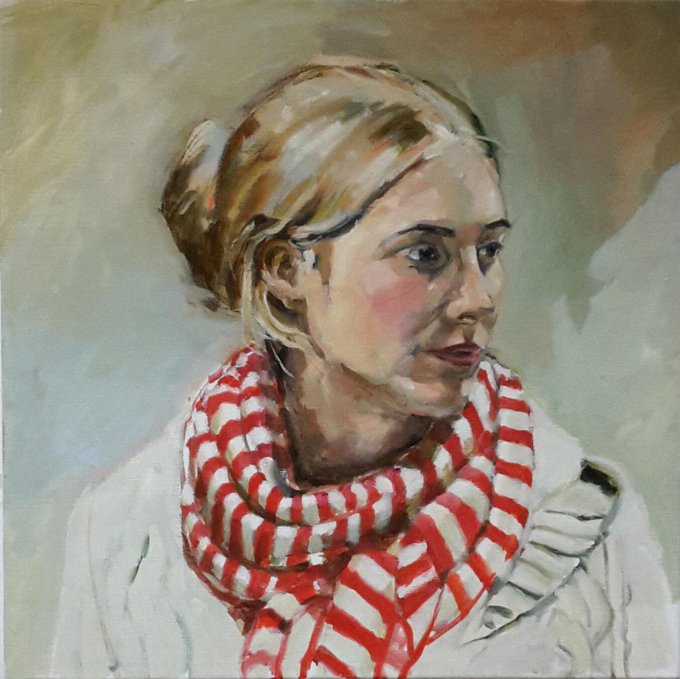 portretJana, olioever op linnen, 50 x 50 cm, 2017