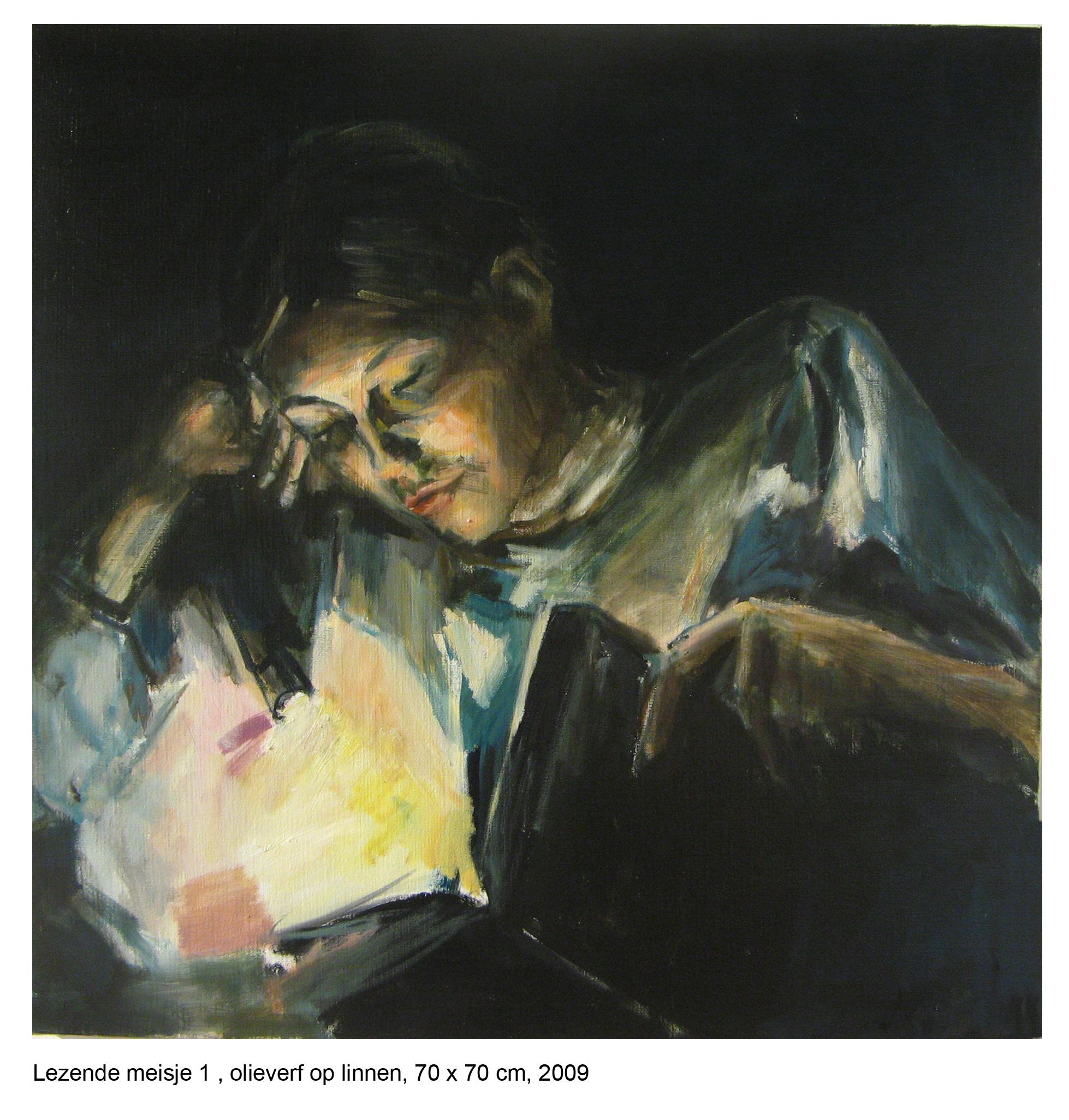lezendmeisje, 70 x 70 cm, olieverf op linnen, 2009
