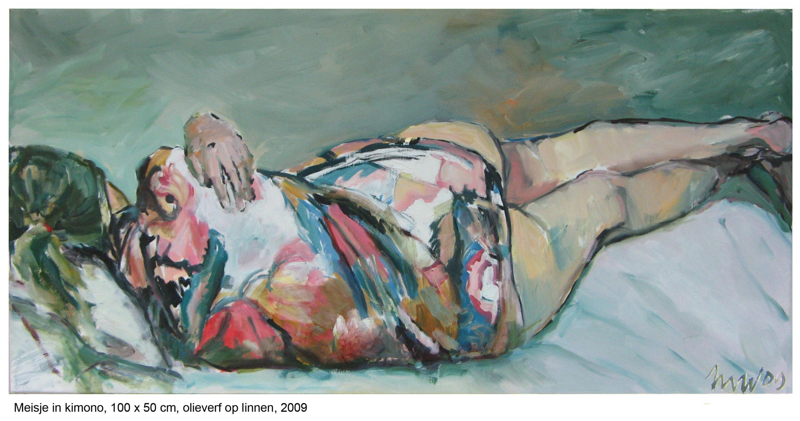 meisje in kimono, 100 x 50 cm, olieverf op linnen, 2009